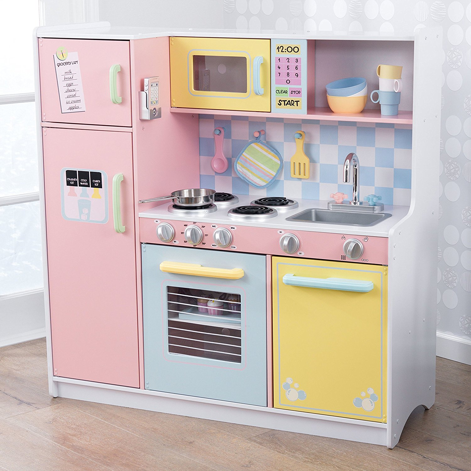 play kitchen - Children love playing with food and the kitchen provides so many language opportunities and this is a toy that will last a long time. There are so many vocabulary words you can teach them, play food is way more motivating than flashcards, and I like ntroduce descriptive vocabulary as I talk about all the ingredients. Kids love to pretend to cook and its very motivating. They get a chance to observe, demonstrate, and use action words such as stir, mix, cut, and roll. You can also play with another child to practice social interactions. Here are some links to play food and pots/pans that we love!
