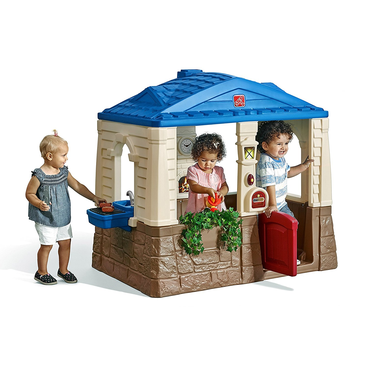 play house - I love an outdoor playhouse to work on social skills, turn taking, and pretend play in a more natural environment. There are a variety of types of play that can be worked on a playhouse; solitary play ( kids play on their own but not noticing other kids), onlooker play (kids are watching but not yet joining, parellel play (children play side by side without any interaction), associative play (kids ask questions to each other but there are no real rules) and social play, (children are sharing ideas and toys, follow rules and guidelines). Kids can reenact what they see in every day activities by pretending to cook, clean, eat, etc.