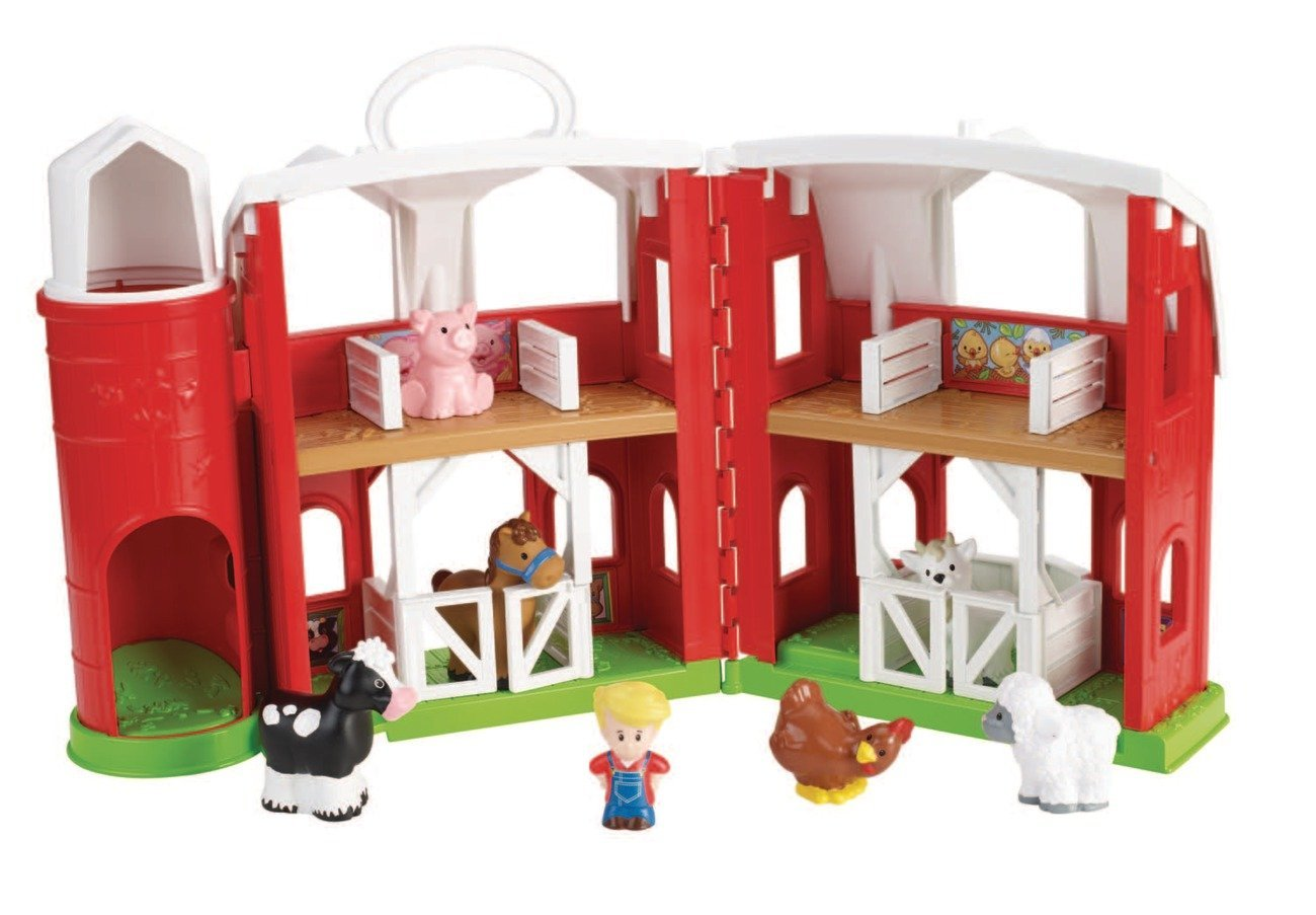 farm - It really does not matter if you live in the city, this toy is perfect. Talking about animals, the sounds they make, the stuff they do, is really fun for kids. The barn does not need to have sounds, and you can teach animal vocabulary either receptively or expressively; pig, cow, horse, goat, etc. Use any animals you have, it does not have to be what comes with set and I love adding some accessories such as a tractor and this set (it has trees, milking station, people, etc.) You can also target some really functional verbs such as eat, sleep, play, etc. A great cognitive skill is having kids putting two items together that make sense, such as the farmer in the tractor, or two words to make a phrase, which is a precursor skill to teaching language. I also teach some prepositions,