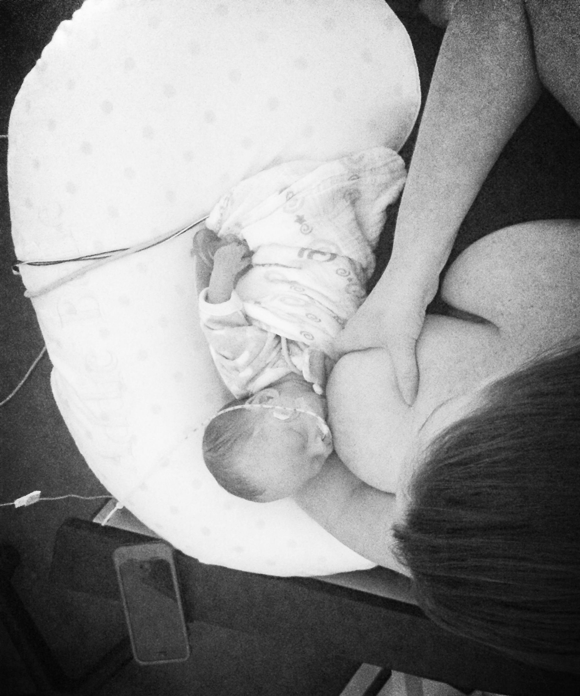 The first time we breastfed, at 3.5 months old.