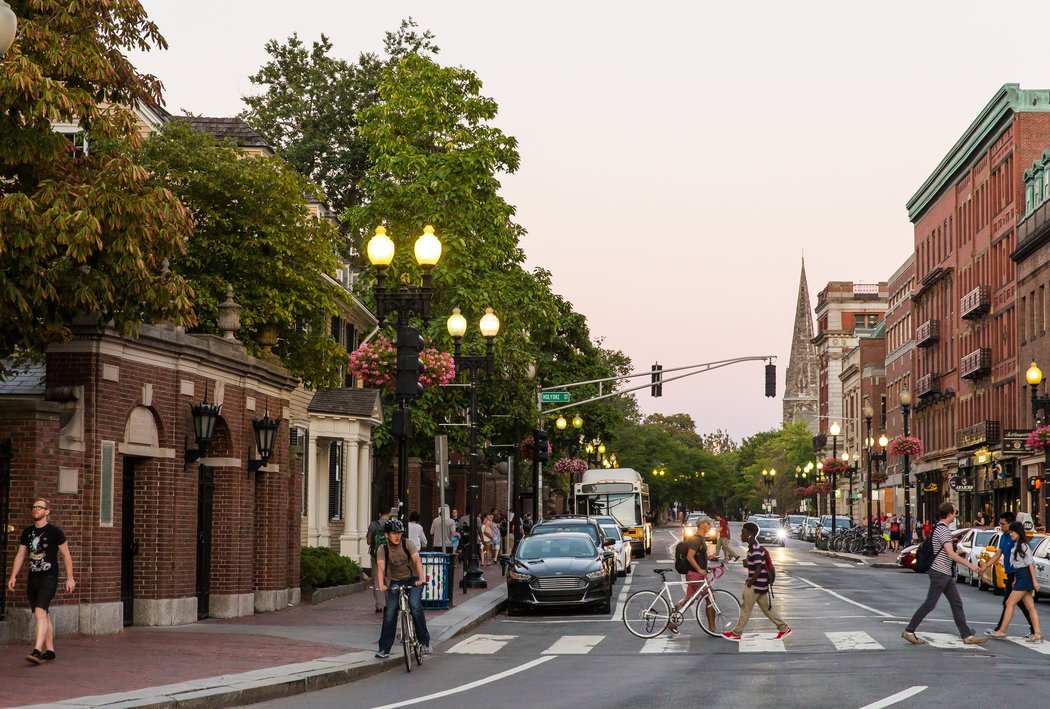 Harvard Square, Cambridge's commercial and spiritual epicenter. Credit Ashley Pizzuti for The New York Times