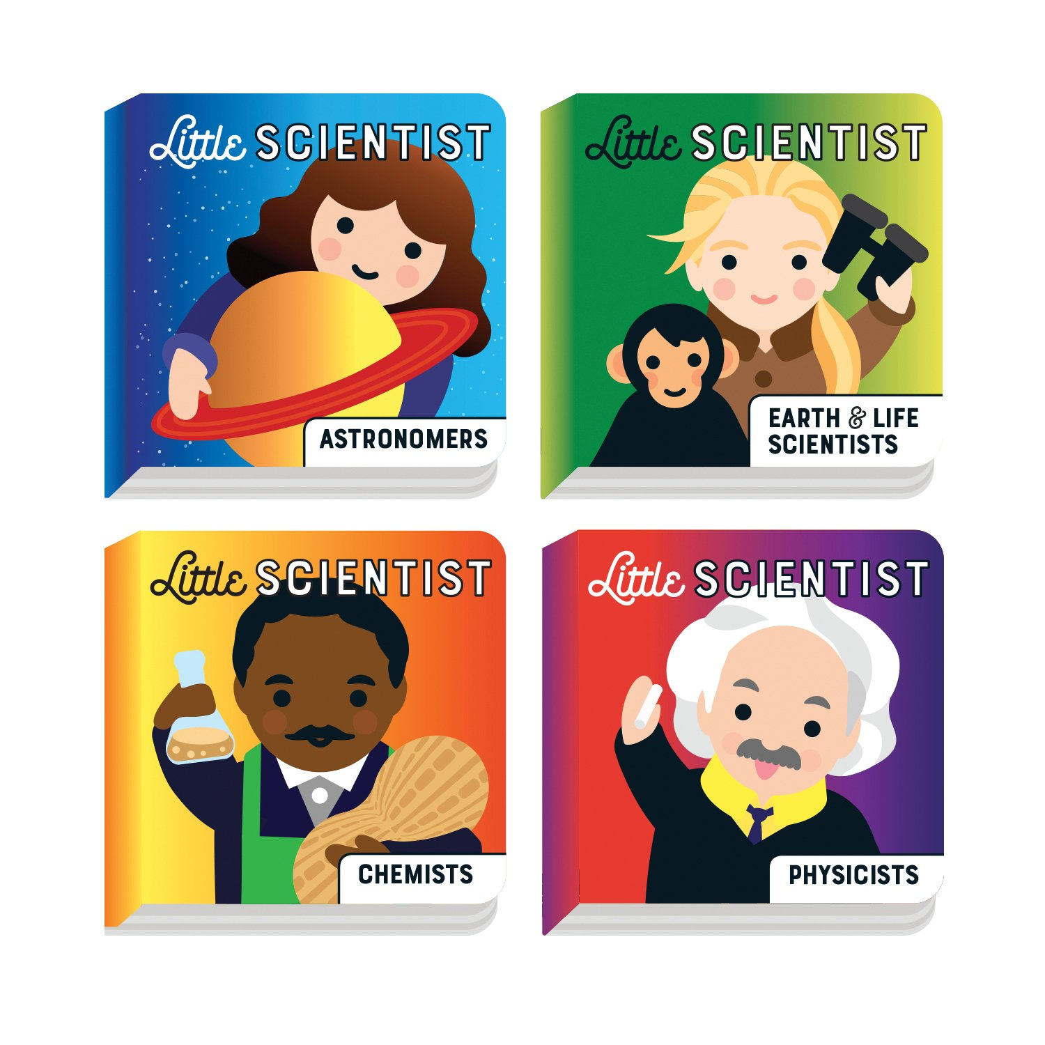16. Little Scientist - A great set for your young toddler. Set includes 4 mini board books, 8 chunky pages per book, comprised of colorful illustrated portraits of real people who have made historical impact on the world. These book includes both men and women and people of all races.