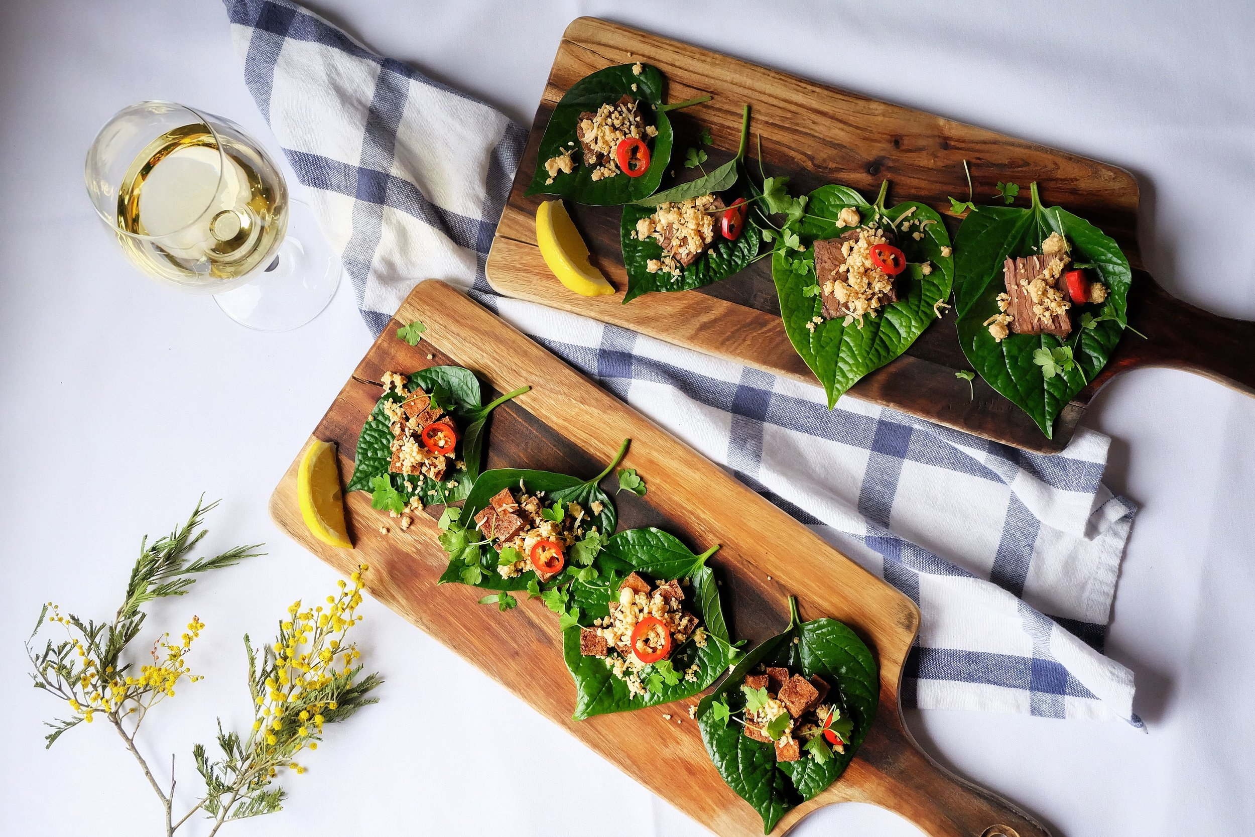 Vegetarian Dish made with Betel Leaves at First Edition Canberra