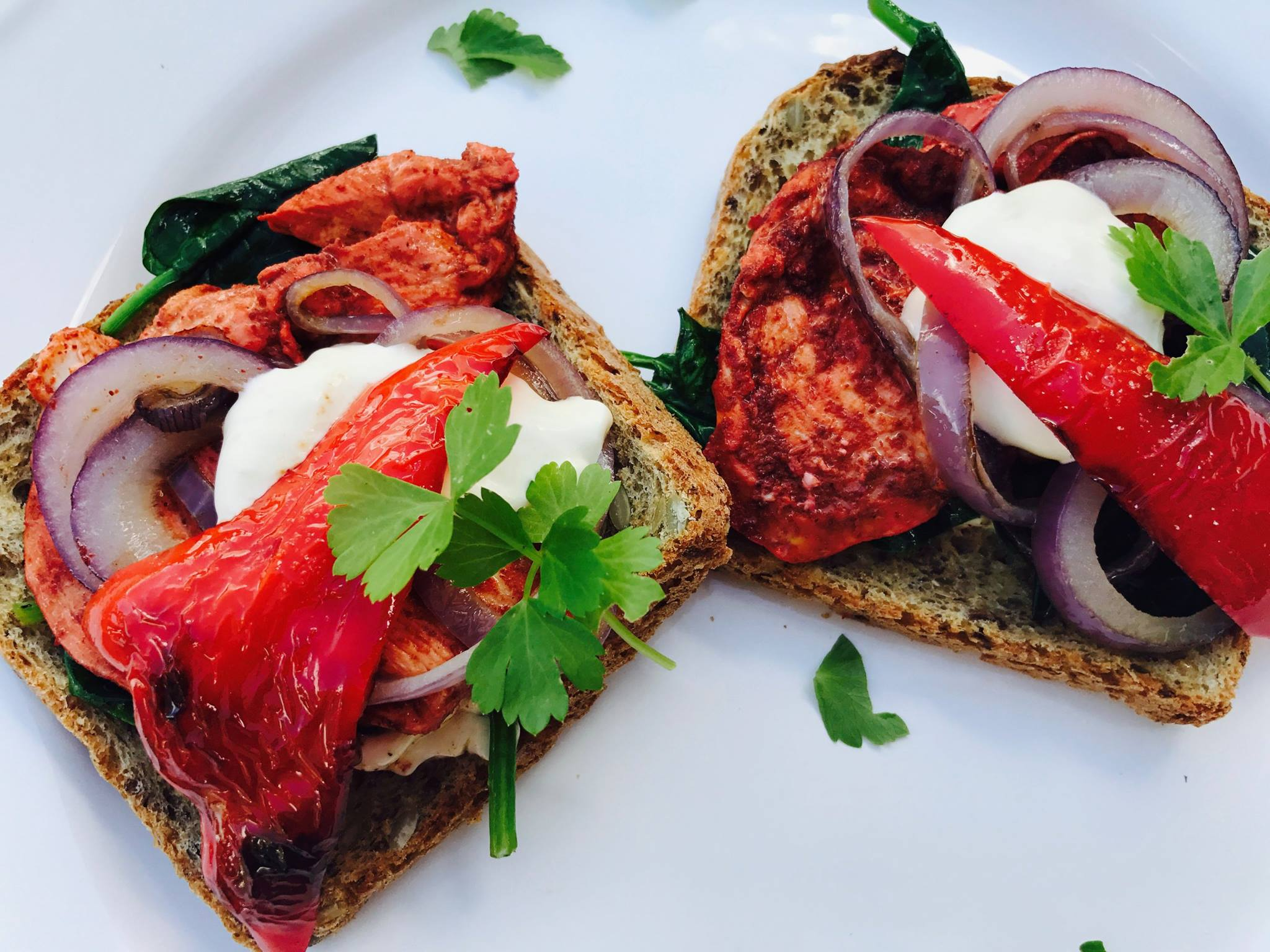Tandoori chicken open sandwich.jpg