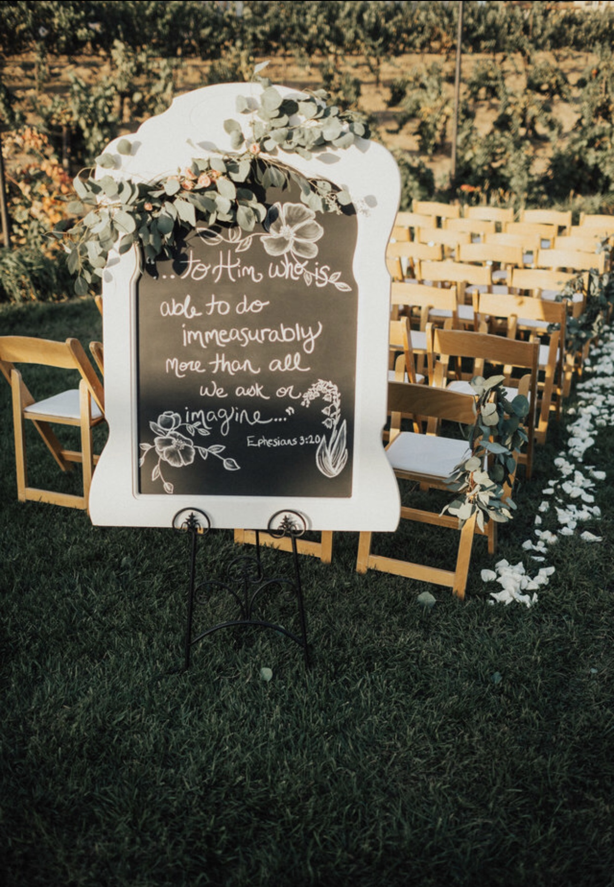 """Stephanie hand-wrote this chalkboard art. This is the Bible Verse that Ross and I carry in our hearts daily. """"To Him who is able to do immeasurably more than all we can ever ask or imagine..."""" (Ephesians 3:20)."""