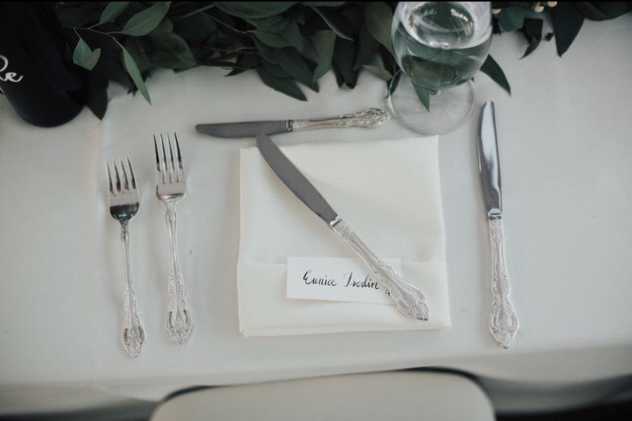 Banquet Table place setting.