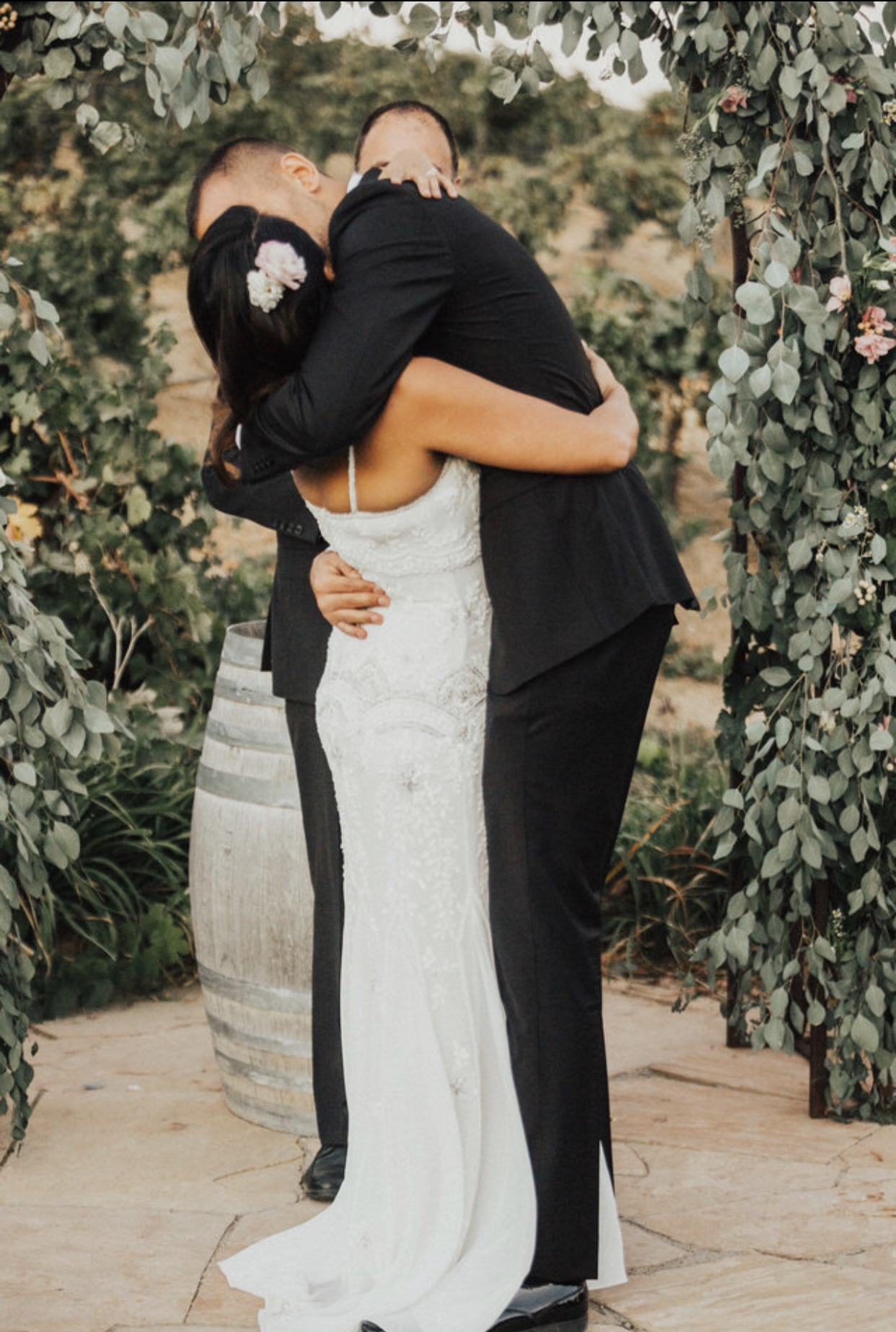 """Oh, wait, but Ross just couldn't get enough! So he went in for the full embrace, too! I overheard our Officiant say """"THERE YOU GO!"""""""