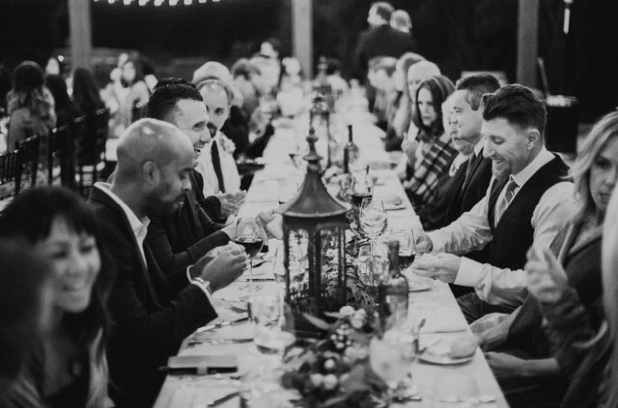 With my vision of having long banquet tables for guests (versus those round ones), this picture is EXACTLY how I pictured our wedding feast to look like!