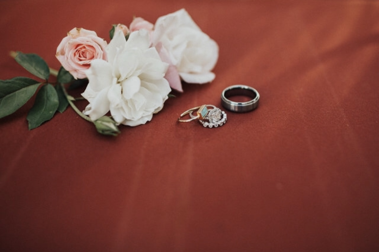 """Our rings. The one with the jade stone on it is the one that Sophia will be getting from Ross. It is her """"wedding ring."""""""