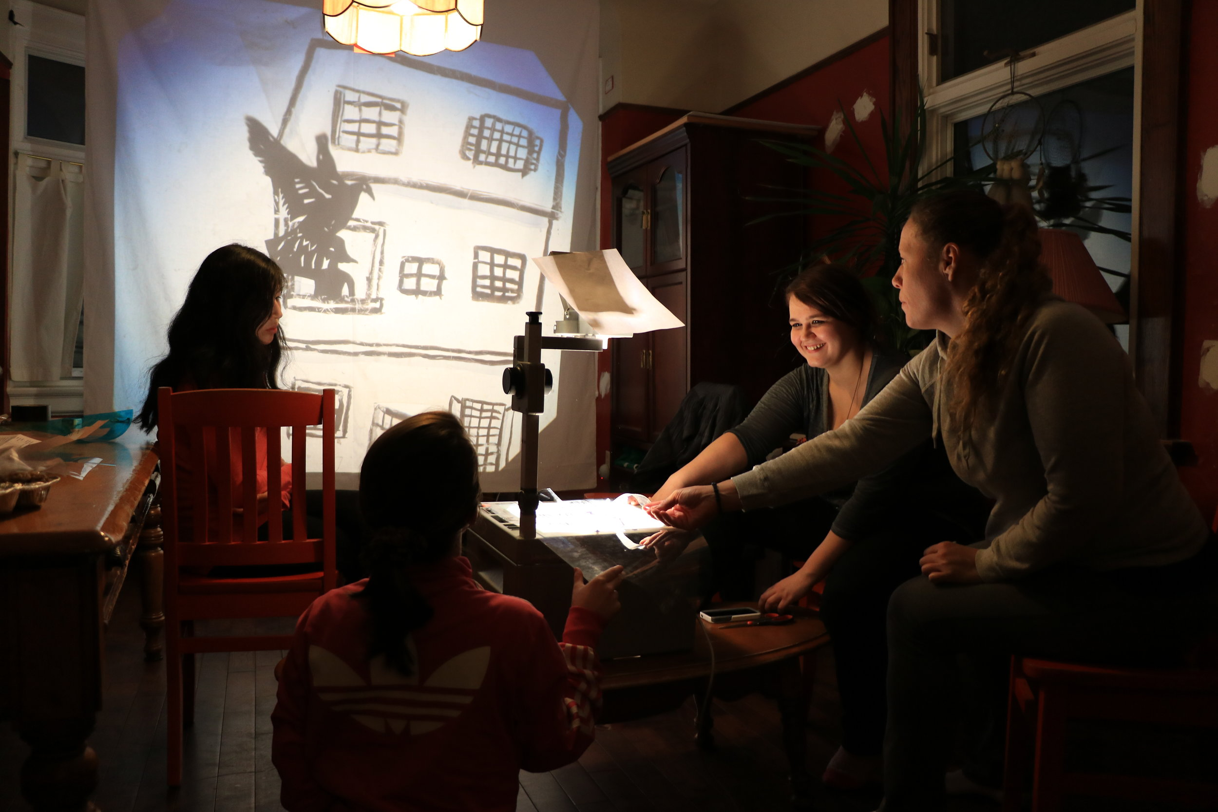 Shadow puppetry workshop with teenage girls I facilitated at Arrabon House. Watch the video  here .