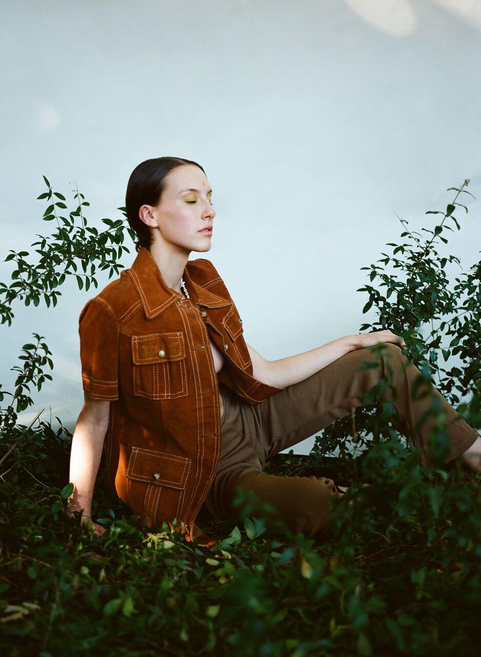 Mattea wears ~ GASSY JACKS 1970s Suede Jacket - ESPRIT Slinky Pants
