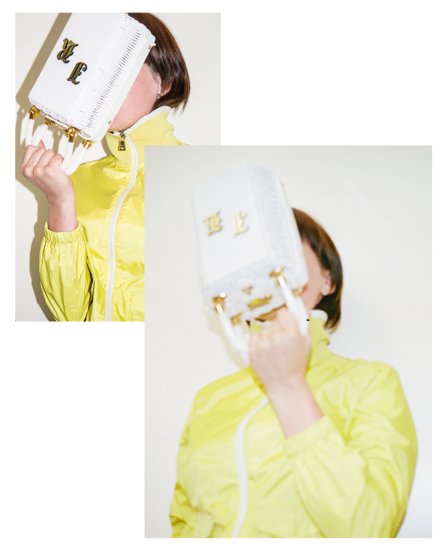Gemma wears - PRADA Windbreaker ~ JR Vintage Basket Bag
