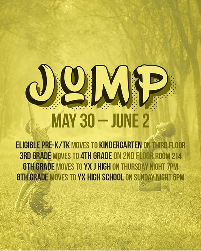 It's Jump Weekend, and we're ready to welcome our 6th graders to J High, our 8th graders to HS, and honor and celebrate our graduating seniors!  6th grade parents: Drop your student off at YX then join our youth pastor @mattdenton for a special welcome reception and a Q&A about the next 6 years of partnership with you.  8th graders: come an hour early to HS for a pre-party with free shirts and 'sserts. You'll get an exclusive YX tee that no one else has and no one else will get! Meet us at 4pm for our 8th Grade Pre-Party.  Seniors: we're throwing you a private reception with grad gifts, a photo booth, and an ice cream sundae bar.  Everyone: since it is Jump Weekend, it seems fitting to have jumps at YX, join us for some fun this weekend at YX.