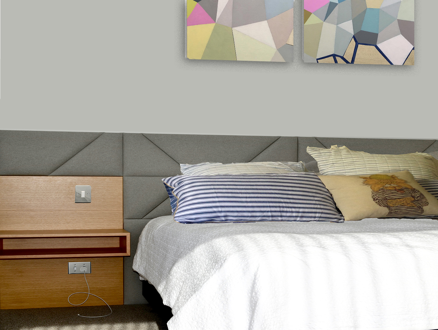 Modern custom designed 'Headboards' with bespoke cabinetry. St.Heliers Bay Auckland, New Zealand. Artwork copyright, Wendy Kawabata.