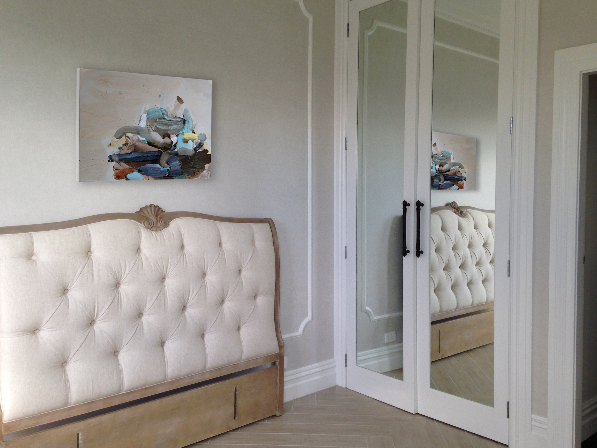 French Country In Remuera. Vintage 'Headboards' sourced or custom designed for unique spaces.