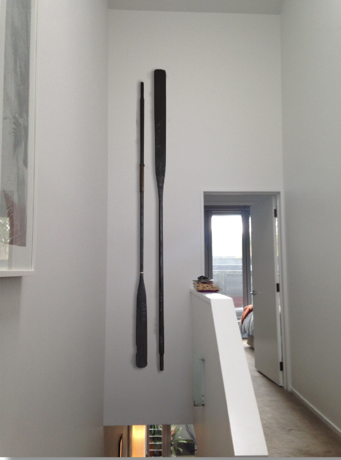 Antique de-commissioned wall hung oars - Sophia Pate 2017.  Private collection Auckland.