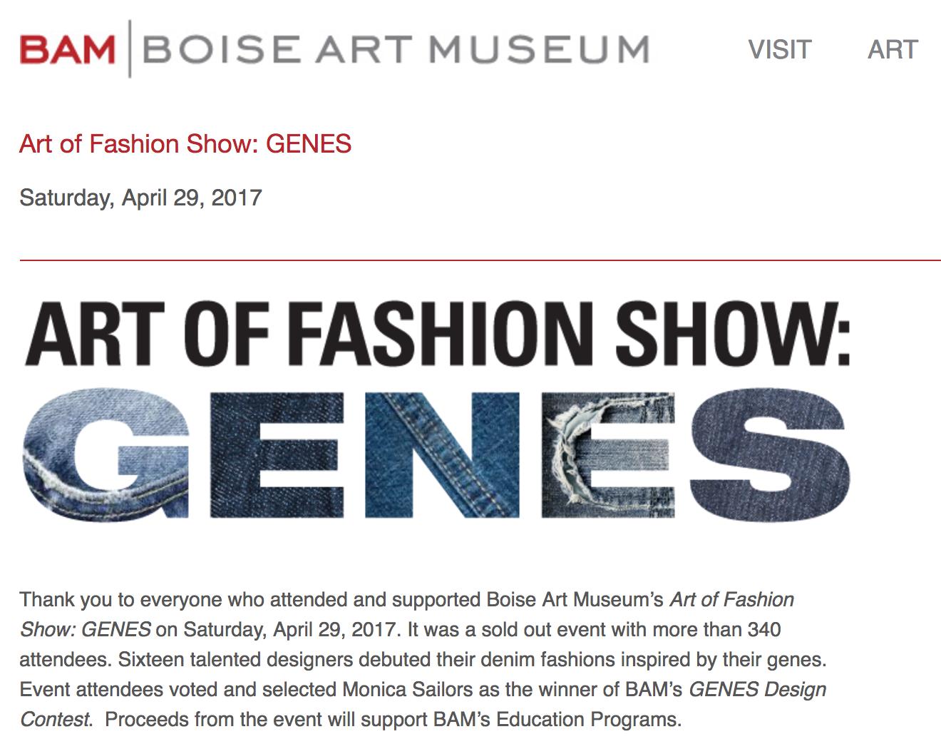 Art OF Fashion Show: GENES - Boise Art Museum • April 2016
