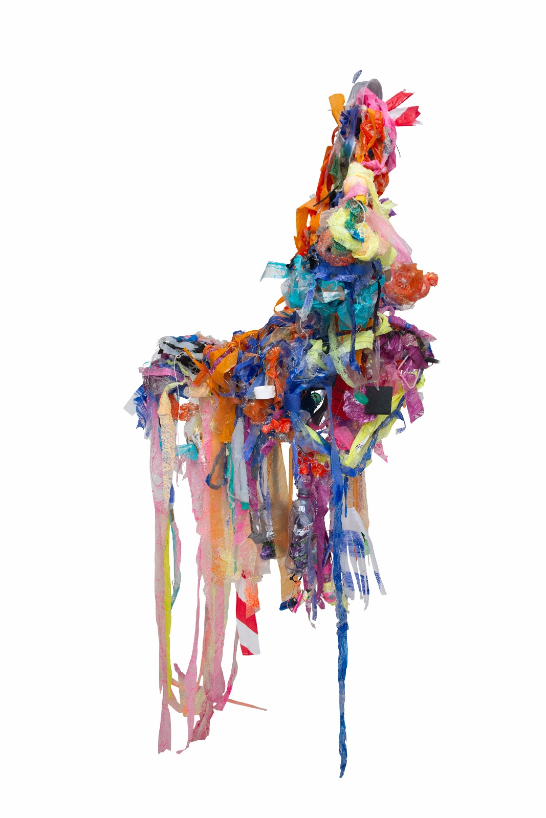 130x160x30cm (approx), Canal plastic, un-recycled plastic streamers, chicken wire, coat hangers, string and acrylic. Product of workshops and completed by the artist, 2018.