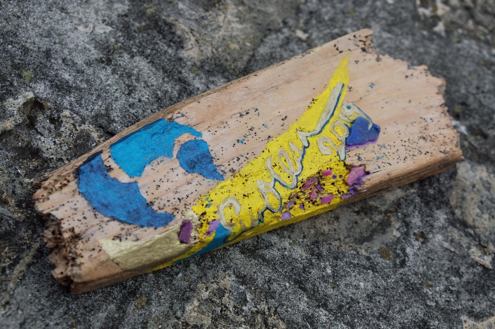 Coast-EurOCEAN2019, Mixed Media and Thames Plastic on Italian Drift Wood, 20x3x2cm (approx).