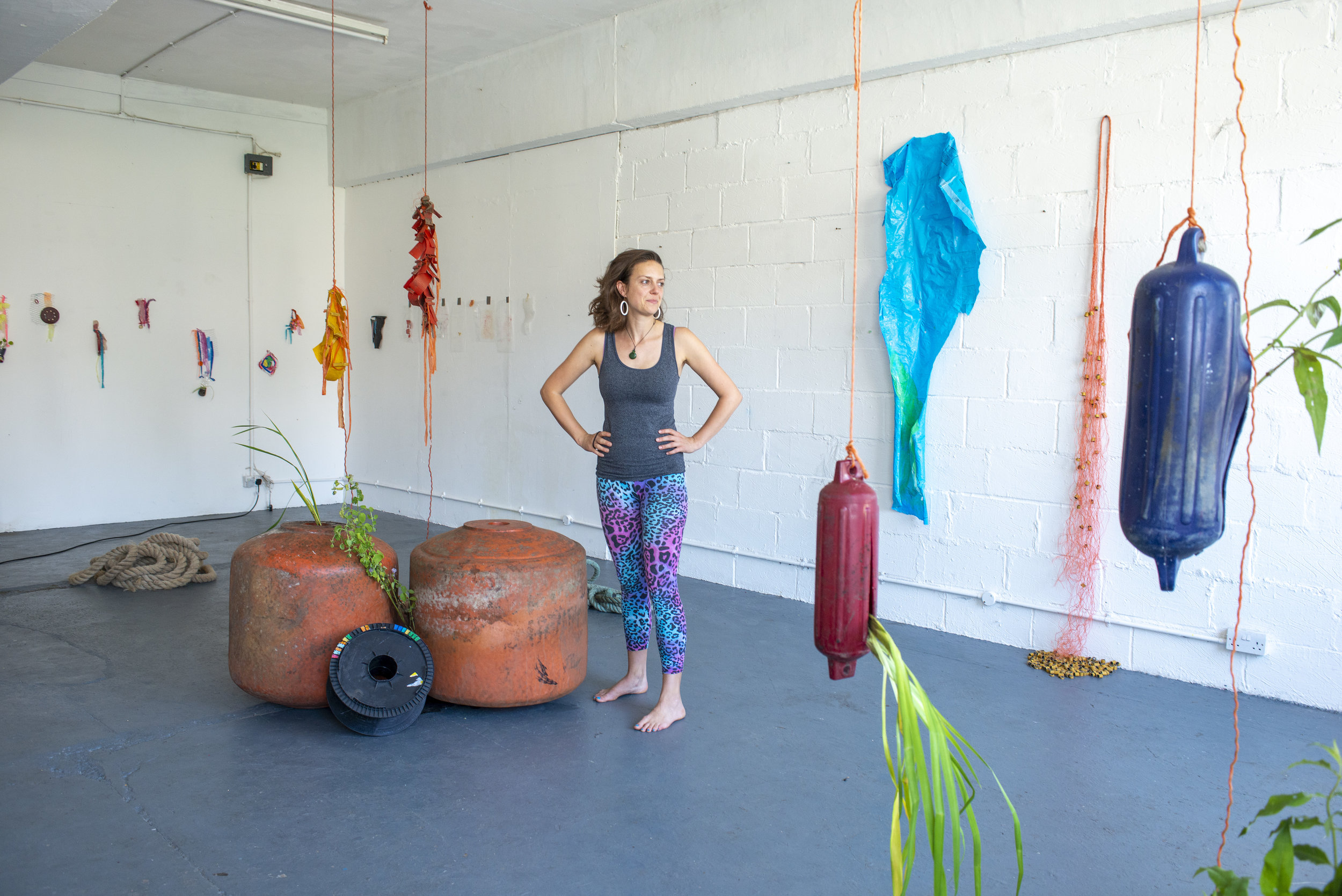 Camilla in Chisenhale Studio 4 at her work in progress show of Coast - Hertford Union Canal, August 2019