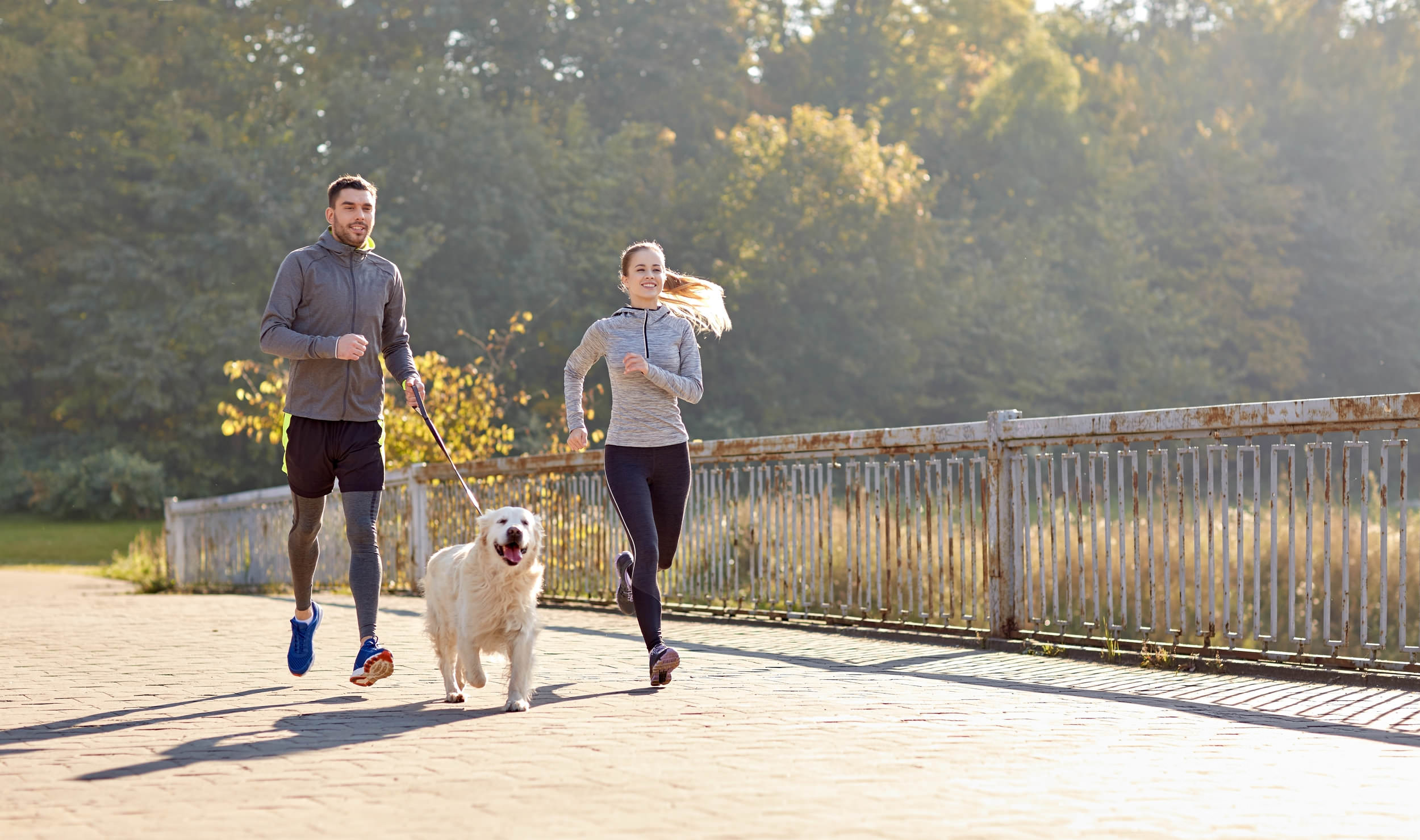 Happy couple with dog running outdoors.jpg