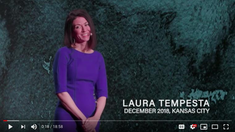 Bravolution® Founder Laura Tempesta on stage at TEDxKCWomen: December 1, 2018