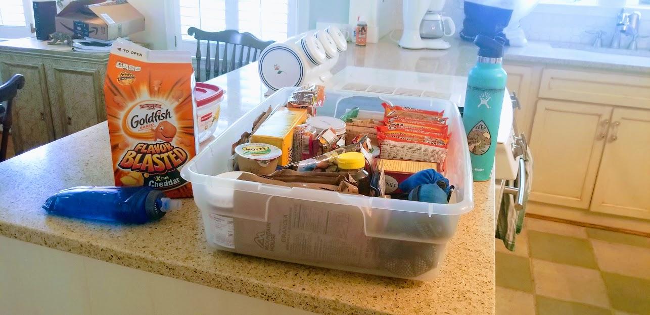 Camping foods and non-perishables (ramen, honey, tea, camp meals, crackers etc)
