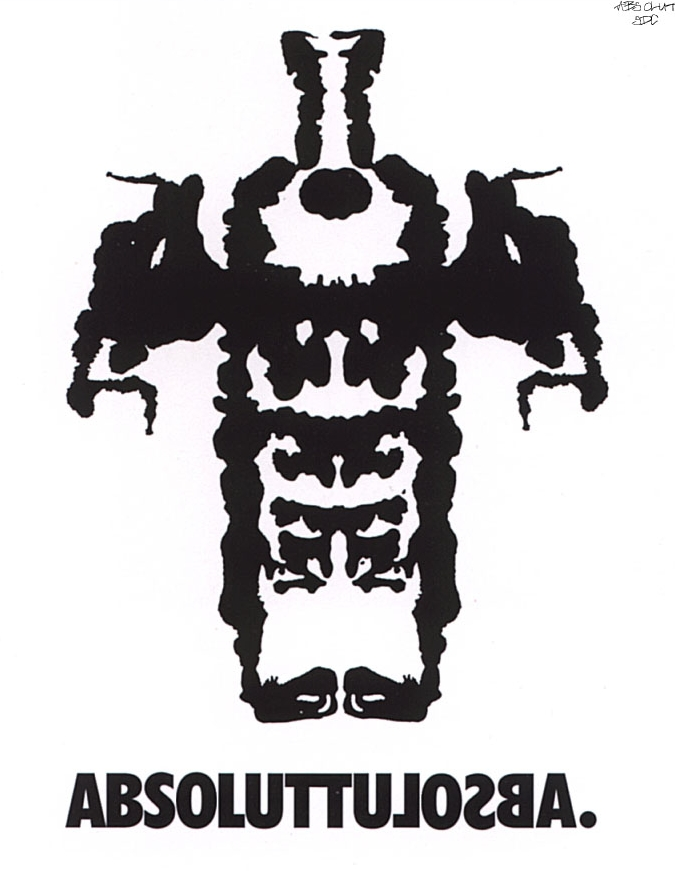 This 'Rorschach' version was created to appear in the 'gutter' of psychology and medical publications, and the more thoughtful broadsheet journals.