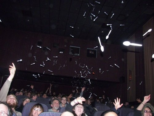 Cinema goers commonly throw spoons at the screen when they see them in The Room