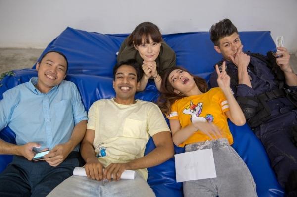 Aaron, Kishan, Jayley, Nicole and Alan taking a break from stunt training.