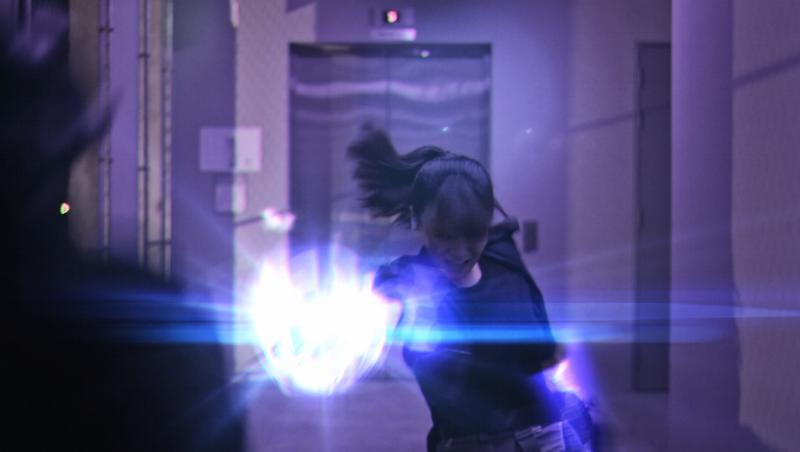 Chloe fighting back in Medistar headquarters.