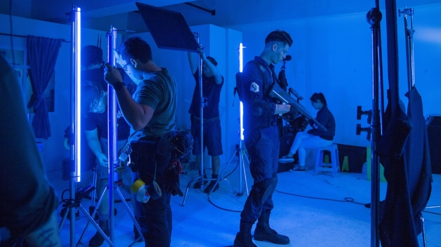 Alan Wong, as Alpha. One of several green screen shoots using onset lighting to integrate with the VFX later.