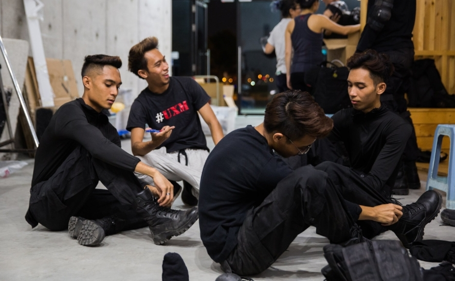 UXM (Urban Extreme Monkeys) - the stunt team - preparing for an action scene early in the series.