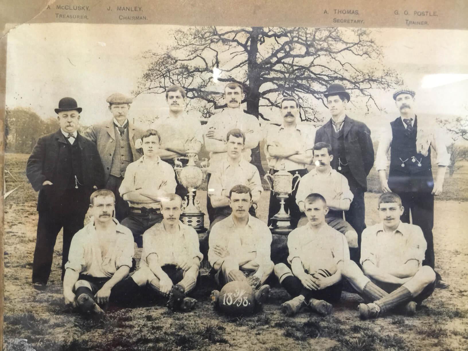 An old photograph of a local football team