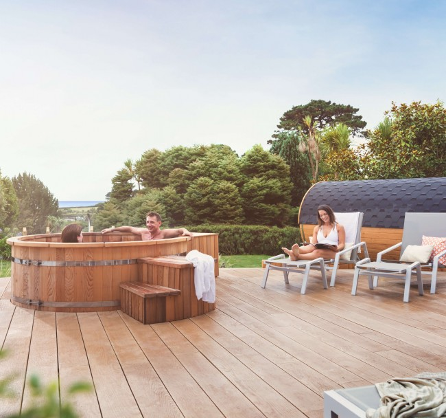 Spa Gardens | Step outside - Through french windows, see the south-facing spa garden. The Spa Garden includes a red cedar hot tub on the sun terrace and Finnish barrel sauna. The sun and sea views provide a relaxing atmosphere to nourish the mind and body.