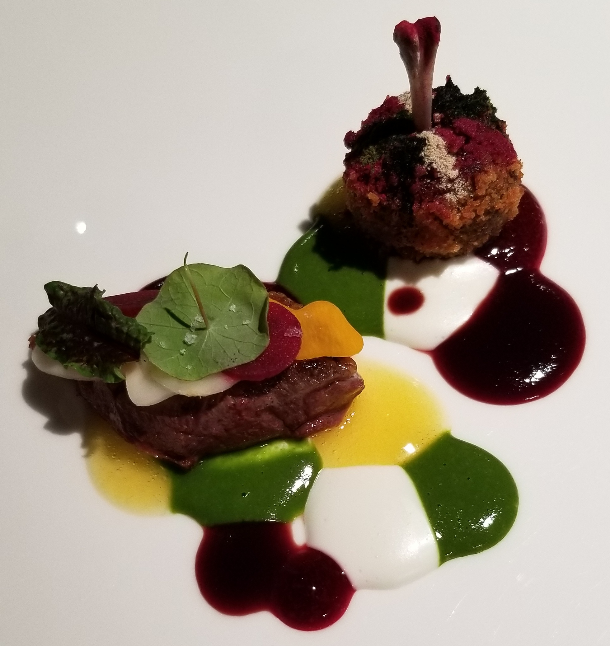"""Camouflage pigeon""    Sous vide breast, and a meatball ""leg"" in a colorful array of flavors. Root vegetable, horseradish, and citrus."