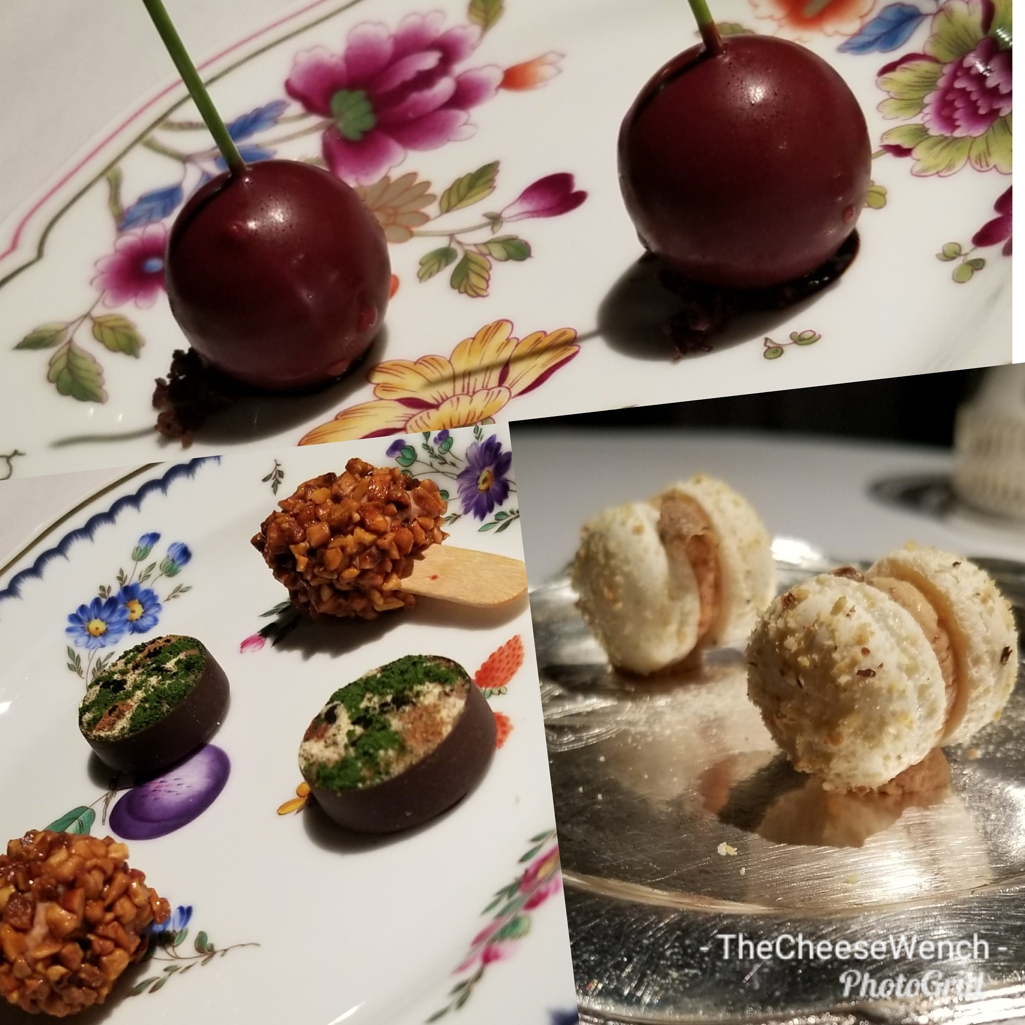 "A tribute to nearby Vignola, the ""cherry capital of Italy.  Foie gras on a stick with a heart of aged balsamic vinegar, and coated with Sicilian almonds and hazelnuts from Piedmont.  A beautiful and surprising bite that combines savory and sweet, as hare with powdered vegetables and herbs meets chocolate and foie gras.  Macarons of foie gras and truffles."