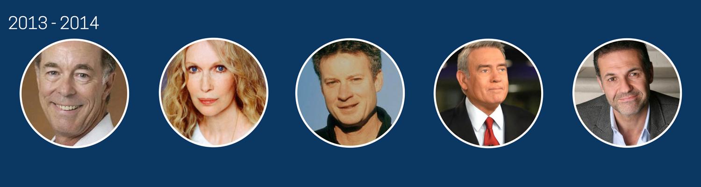 2013-2014  Gentry Lee, Mia Farrow, Timothy Egan, Dan Rather, Khaled Hosseini