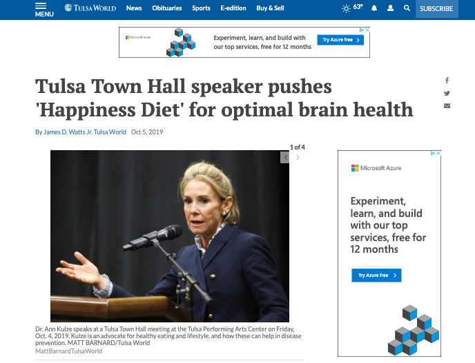 Tulsa Town Hall Speaker pushes happiness diet