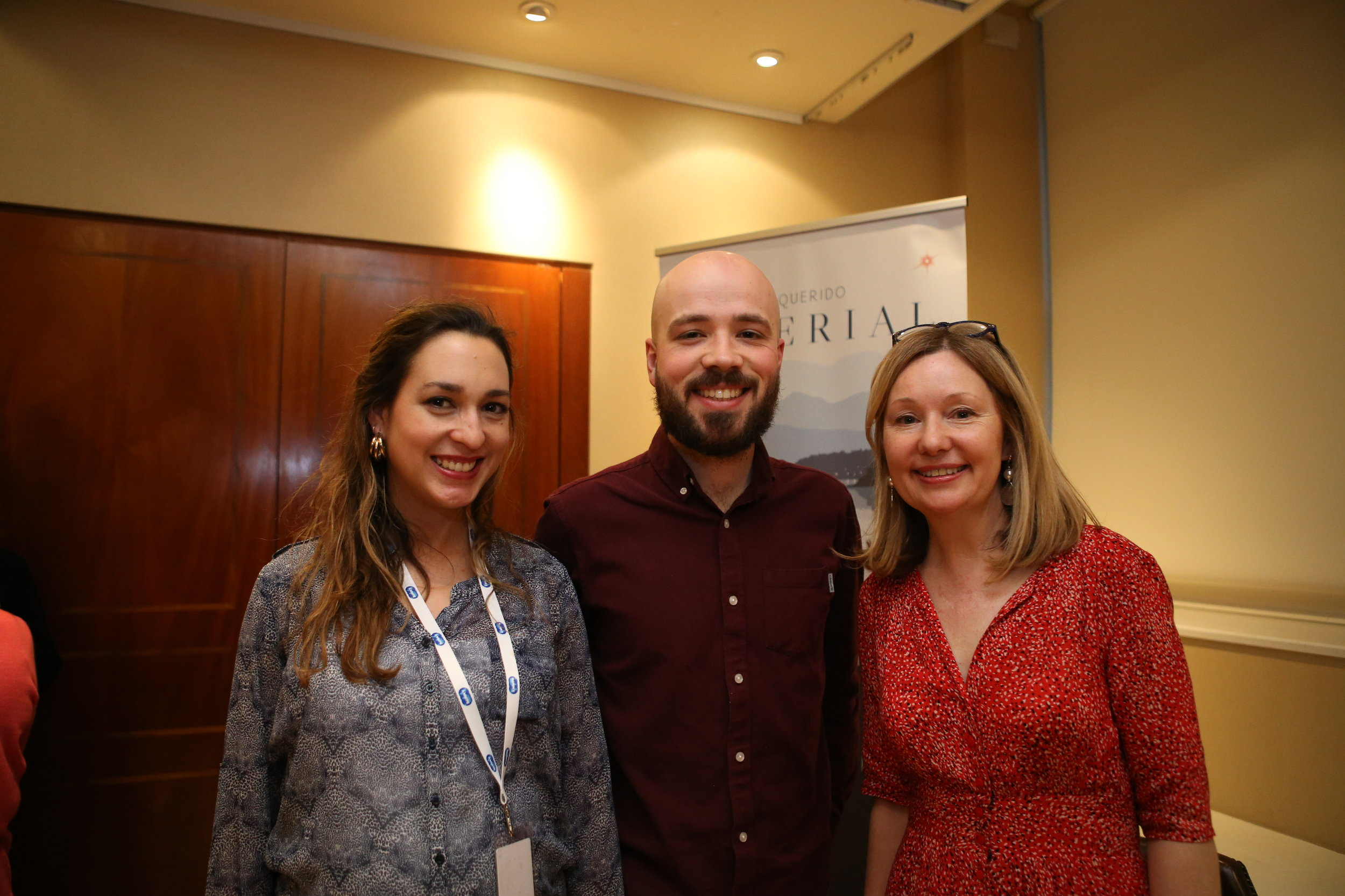 With Catalina Herrera Acuña, Cultural Affairs and Press Attaché for the Embassy of Chile, and Steffan Glynn, the cover designer for 'Mi Querido Imperial'.