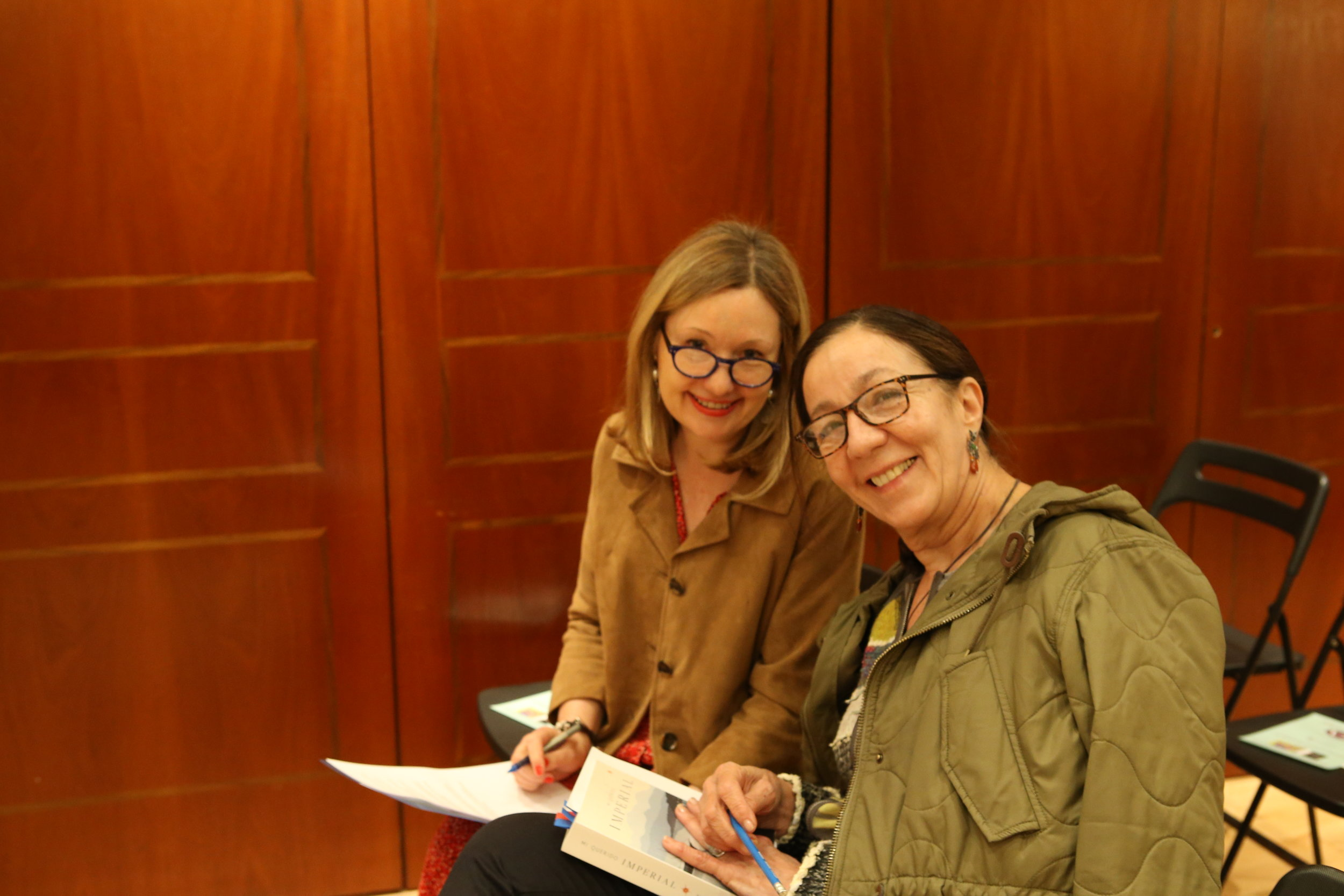 With Paloma Zozaya, making last minute notes ahead of the launch.