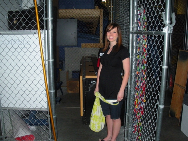 Cindy standing near the closet she hid in during the shooting (Picture taken in 2009)