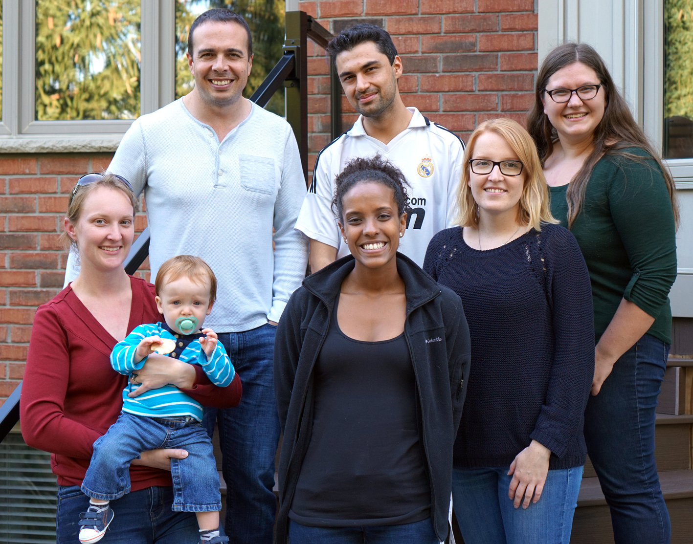 Left to right: Heather (and Owen) - lab tech (and lab baby); Steve - lab head; Yodit - MSc student; Rajiv - PhD Candidate; Kate - Post Doctoral Fellow; Alicia - 4th year Honours Student.