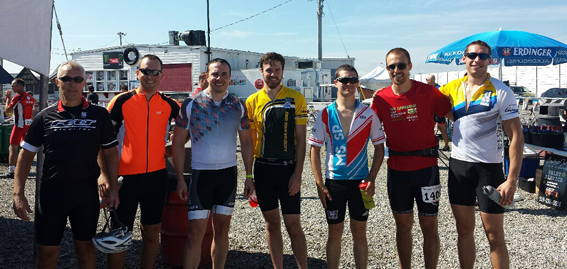 The Riders: Steve Kerfoot (3rd from the left), M&I Grad Students Brennan Dirk (2nd from left), Aaron Johnson (middle), Mark Trinder, and Joe Zeppa (right), and friends of the department Andrew Hayward (left) and Eric Williams (3rd from right).
