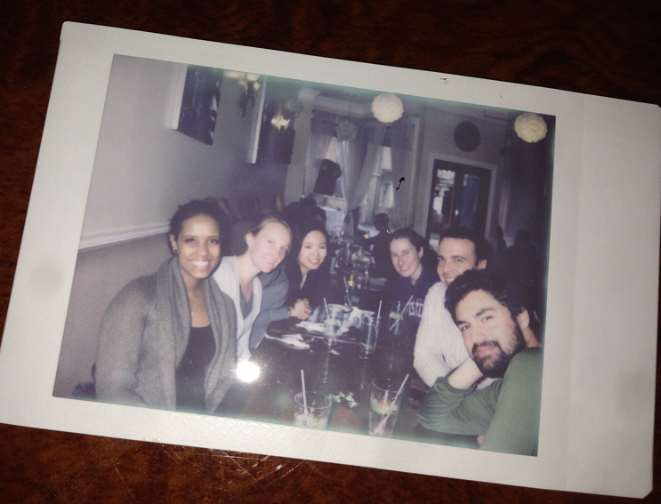 Fig 1: The KerfootLab celebrating Amy's success! We're all about different types of imaging and Amy brought her hipster Polaroid camera. Of course, to share the resulting picture we had to subsequently image it with an iPhone, so it loses some of its cool factor.