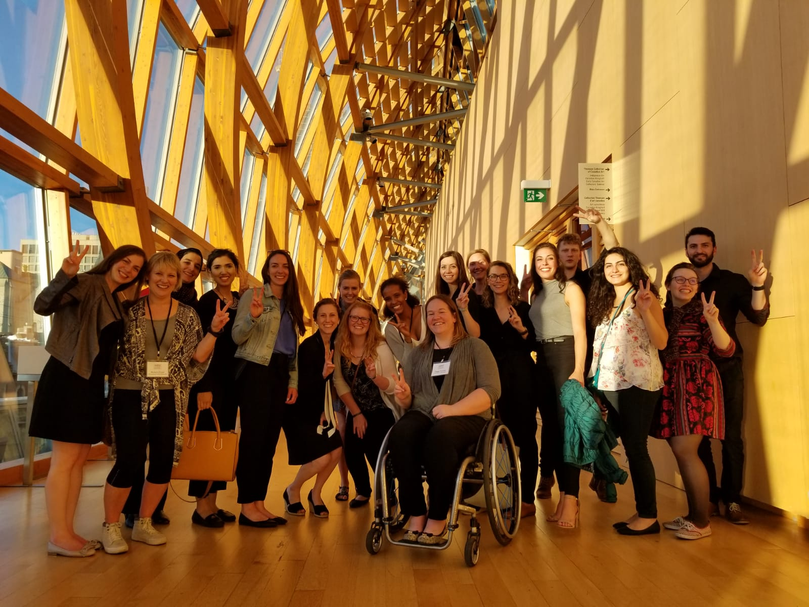 Group 2 (we're not flashing the peace sign) visits the Art Gallery of Ontario during a short break in the action.