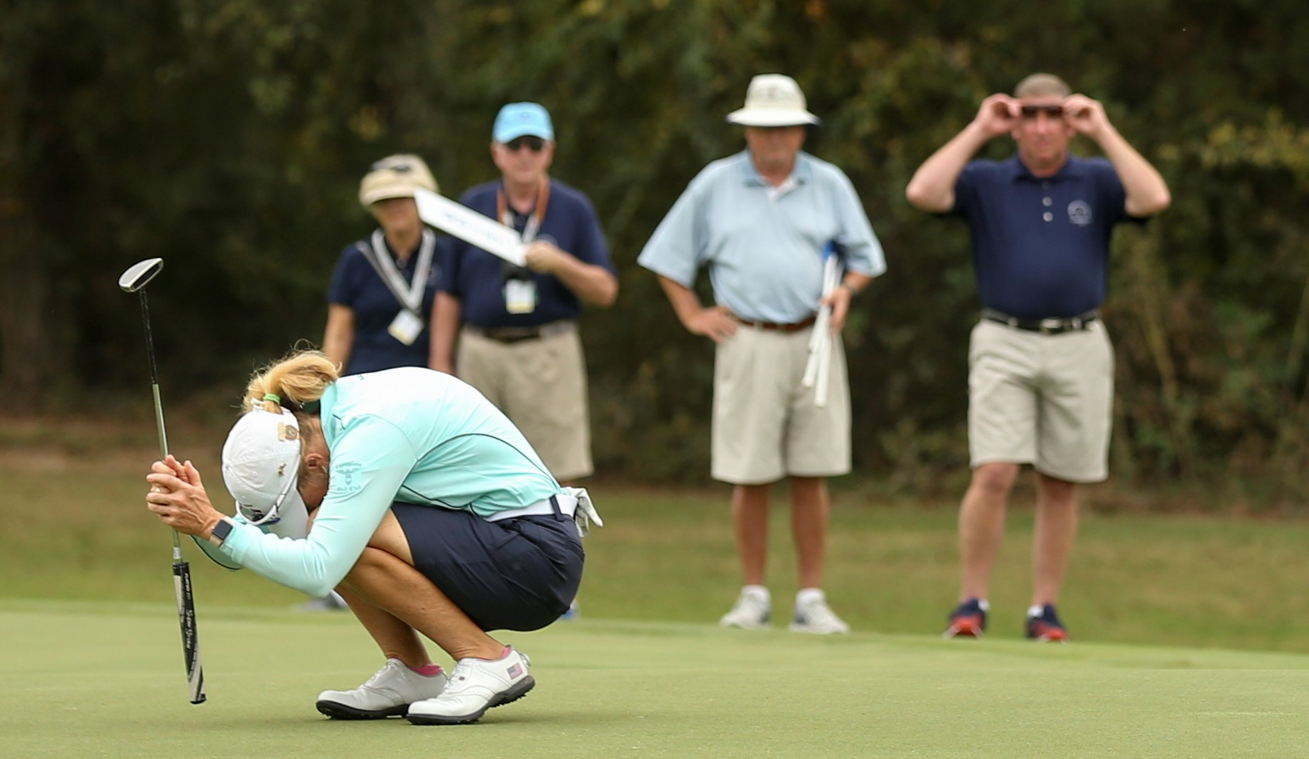 Mary Jane Hiestand, the U.S. Women's Mid-Amateur runner-up, reacts to a putt at Champions Golf Club in Houston. The 58-year-old very nearly played herself into the U.S. Women's Open -- a new perk at this year's championship. USGA photo