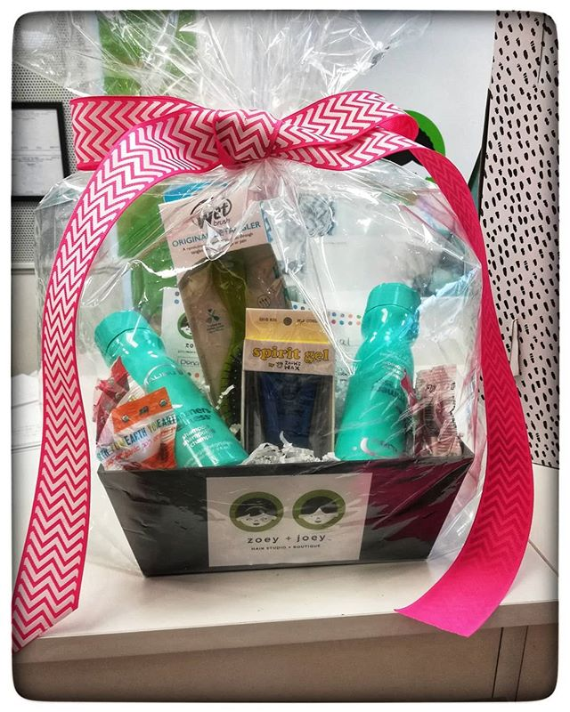 Consider requesting one of our fantastic Gift Baskets for your local event, whether it's a special  holiday, your school PTO, or other organization. Free haircuts + organic products inside.