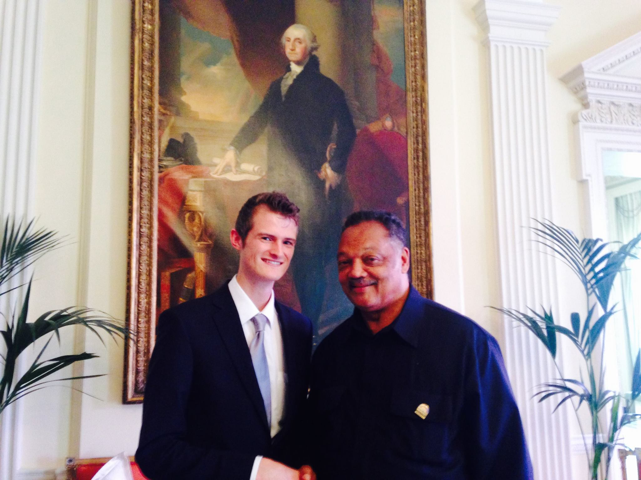 """I met civil rights activist and former Presidential candidate Reverend Jesse Jackson at the US Embassy, London. I asked Rev Jackson what we should do when we see social, racial or gender injustice. He replied: """"Never confuse what is normal with what is right""""."""