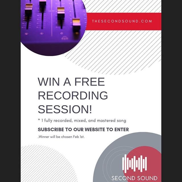 There's only a few hours left to sign up for a chance to win a free recording session! Just go to TheSecondSound.com and sign up for our email list to enter!